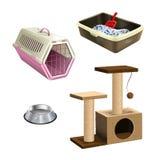 Sistema del vector de accesorios de la tienda de animales Foto de archivo libre de regalías