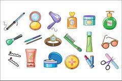 Sistema del vector de accesorios de las mujeres, de skincare y de productos de higiene con el terraplén colorido y el esquema neg libre illustration