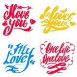 Sistema del vector de amor Muestras felices de las letras de la mano del día de tarjetas del día de San Valentín Imagen de archivo libre de regalías