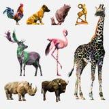 Sistema del vector de animales poligonales imágenes de archivo libres de regalías
