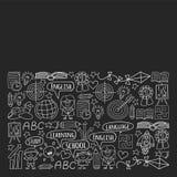 Sistema del vector de aprender la lengua inglesa, ni?os  ?iconos de dibujo de s en estilo del garabato Monocromo pintado, negro,  stock de ilustración