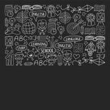 Sistema del vector de aprender la lengua inglesa, ni?os  ?iconos de dibujo de s en estilo del garabato Monocromo pintado, negro,  ilustración del vector