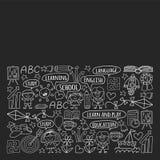 Sistema del vector de aprender la lengua inglesa, ni?os  ?iconos de dibujo de s en estilo del garabato Monocromo pintado, negro,  libre illustration