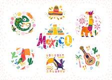 Sistema del vector de arreglos decorativos dibujados mano con símbolos y elementos mexicanos tradicionales libre illustration