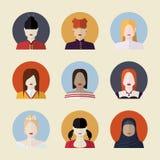 Sistema del vector de avatares de las mujeres Imagen de archivo