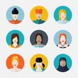 Sistema del vector de avatares de las mujeres en estilo plano Foto de archivo libre de regalías