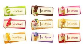 Sistema del vector de banderas con helado Fotos de archivo libres de regalías