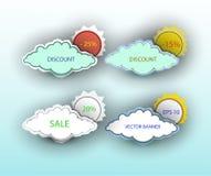 Sistema del vector de banderas de nubes y del sol Foto de archivo