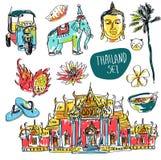 Sistema del vector de Bangkok (Tailandia) con el templo, Buda, el elefante y el loto aislados en el fondo blanco ilustración del vector