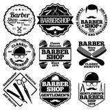 Sistema del vector de Barber Labels para las tiendas etc stock de ilustración