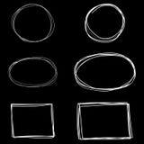 Sistema del vector de bastidores cuadrados dibujados mano Fotos de archivo