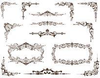 Sistema del vector de bastidores, de fronteras y de esquinas del vintage ilustración del vector