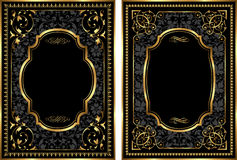 Sistema del vector de bastidores del estilo del vintage del oro Imagen de archivo