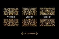 Sistema del vector de bastidores lineares y de fondos florales con el balneario de la copia Foto de archivo