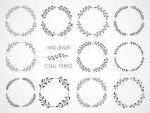 Sistema del vector de bastidores rectangulares dibujados mano floral Foto de archivo