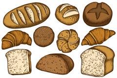 Sistema del vector de bollos y pan coloreado exhausto de la mano, cruasanes y pan libre illustration