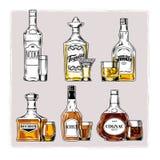 Sistema del vector de botellas con alcohol y el stemware Imagenes de archivo