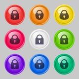 Sistema del vector de botones con las cerraduras Fotos de archivo libres de regalías