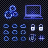 Sistema del vector de brillar iconos de neón azules de la tecnología, luces brillantes, la rueda, el ordenador portátil, las nube ilustración del vector