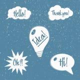 Sistema del vector de burbujas del discurso con frases stock de ilustración
