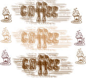 Sistema del vector de café Imágenes de archivo libres de regalías
