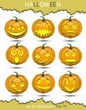 Sistema del vector de calabazas en honor de Halloween Foto de archivo