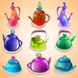 Sistema del vector de calderas de té Imágenes de archivo libres de regalías