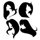 Sistema del vector de Cameo Silhouettes femenina stock de ilustración