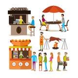 Sistema del vector de caracteres de la gente de la historieta y de paradas de la comida de la calle aislados en el fondo blanco Fotos de archivo