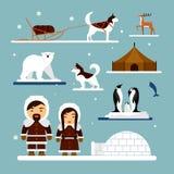 Sistema del vector de caracteres esquimales con la casa del iglú, el perro, el oso blanco y los pingüinos Gente en traje tradicio Imagen de archivo libre de regalías