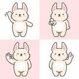 Sistema del vector de caracteres lindos del conejo stock de ilustración