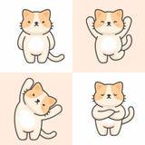 Sistema del vector de caracteres lindos del gato ilustración del vector