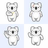 Sistema del vector de caracteres lindos del oso de koala stock de ilustración