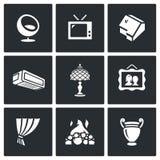 Sistema del vector de casa y de iconos interiores de los artículos ilustración del vector