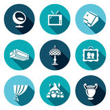 Sistema del vector de casa y de iconos interiores de los artículos stock de ilustración