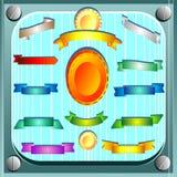 Sistema del vector de cintas de satén en el azul enmarcado stock de ilustración
