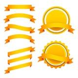 Sistema del vector de cintas y de etiquetas anaranjadas Fotografía de archivo