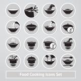 Sistema del vector de cocinar iconos, para las instrucciones Imagen de archivo