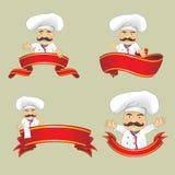 Sistema del vector de cocineros en diversas posiciones Cocineros de la historieta que cocinan y que sostienen la bandeja con la c Foto de archivo libre de regalías