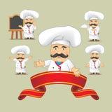 Sistema del vector de cocineros en diversas posiciones Cocineros de la historieta que cocinan y que sostienen la bandeja con la c Fotografía de archivo