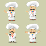 Sistema del vector de cocineros en diversas posiciones Cocineros de la historieta que cocinan y que sostienen la bandeja con la c Imágenes de archivo libres de regalías