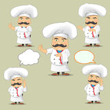 Sistema del vector de cocineros en diversas posiciones Cocineros de la historieta que cocinan y que sostienen la bandeja con la c Fotografía de archivo libre de regalías
