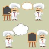 Sistema del vector de cocineros en diversas posiciones Cocineros de la historieta que cocinan y que sostienen la bandeja con la c Imagen de archivo