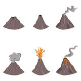 Sistema del vector de color plano Volcano Illustrations Fotografía de archivo