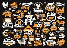 Sistema del vector de comida, etiquetas de la carne, logotipos, iconos, elementos del diseño Fotos de archivo