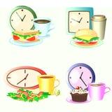 Sistema del vector de comidas, de relojes y de bebidas de la hora de la almuerzo Imágenes de archivo libres de regalías