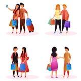 Sistema del vector de compradores de los pares que sostienen los bolsos para la venta que hace compras estacional libre illustration