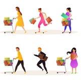 Sistema del vector de compradores que sostienen el carro y los bolsos para la venta que hace compras estacional libre illustration