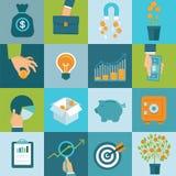 Sistema del vector de conceptos del negocio en estilo plano Imágenes de archivo libres de regalías
