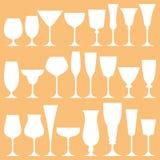 Sistema del vector de copa de vino Fotografía de archivo